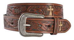 3D Hair-on-Hide Cross Inlay Tooled Leather Belt, , hi-res