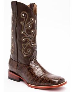 Ferrini Chocolate Alligator Belly Print Cowboy Boots - Square Toe, , hi-res