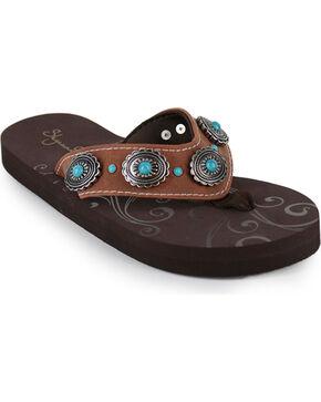 Shyanne Women's Concho Sandals , Brown, hi-res