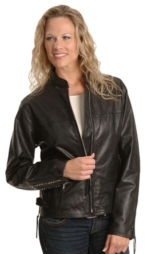 Milwaukee Motorcycle Studded Leather Jacket - XL, Black, hi-res