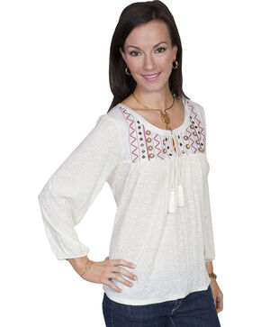 Scully Women's Crush Knit Embroidered Peasant Blouse, Cream, hi-res