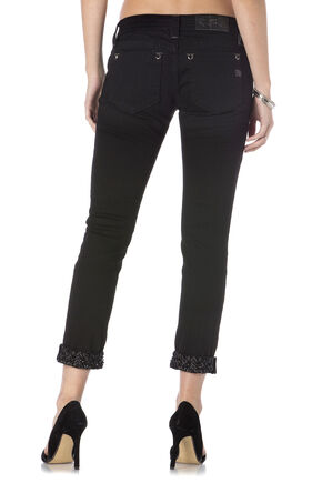 Miss Me Women's Black Modern Mix Cuffed Skinny Jeans , Black, hi-res