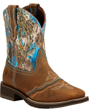 Ariat Ranchbaby II Cowgirl Boots - Square Toe , Brown, hi-res