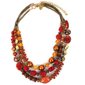 Treska Women's Saffron Sunset 3-Strand Beaded Necklace , Red, hi-res