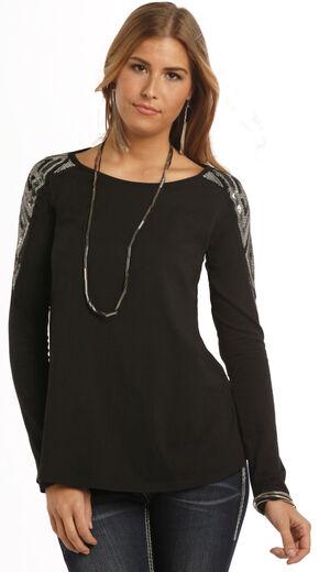 Rock & Roll Cowgirl Women's Black Sparkling Shoulder Long Sleeve T-Shirt , Black, hi-res