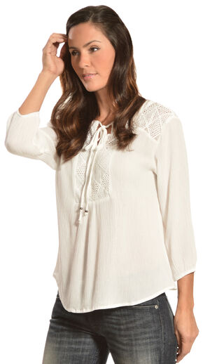 Red Ranch Women's Crochet Bib Top, Ivory, hi-res