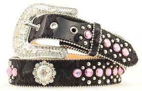 Blazin Roxx Pink Rhinestone Embellished Belt, Black, hi-res