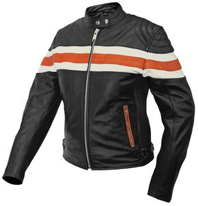 Interstate Leather Ladies Orange & Cream Striped Scooter Jacket - XL, Black, hi-res