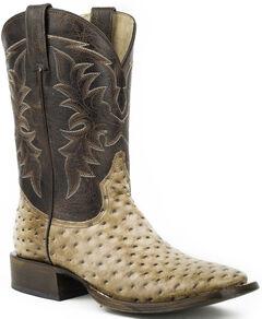 Roper Honey Brown Ostrich Print Cowboy Boots - Square Toe , , hi-res