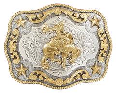 Nocona Rope Edge Saddle Bronc Silver/Gold Buckle, , hi-res