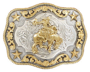 Nocona Rope Edge Saddle Bronc Silver/Gold Buckle, Gold, hi-res