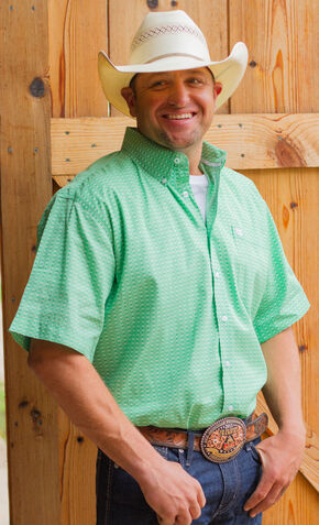 Cinch Men's Green Geo Print Short Sleeve Shirt - Big and Tall, Green, hi-res