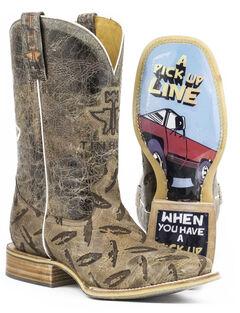 Tin Haul Men's Diamond Plate Pick Up Line Cowboy Boots - Square Toe, , hi-res