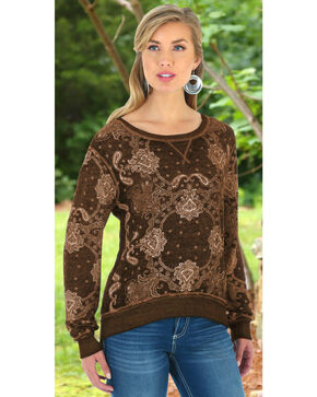 Wrangler Women's Brown Bandana Printed Sweater Top, Brown, hi-res