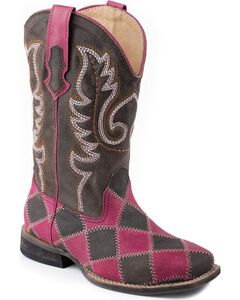 Roper Patchwork Cowgirl Boots - Wide Square Toe, , hi-res