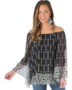 Wrangler Women's Off the Shoulder Print Shirt, , hi-res