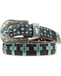 Blazin Roxx Turquoise Cross Concho Belt, , hi-res