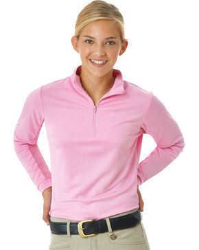 Ovation Women's CHD Cool-Rider Zip-Mock Shirt, Pink, hi-res