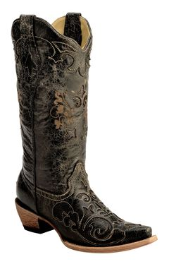 Corral Vintage Distressed Black with Lizard Inlay Cowgirl Boots - Snip Toe, , hi-res