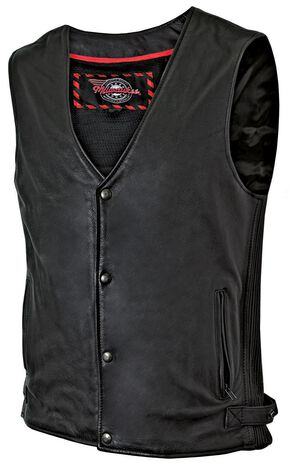 Milwaukee Motorcycle Ribbed Leather Vest, Black, hi-res