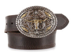 Cody James® Kid's Long Horn Buckle and Belt, Brown, hi-res