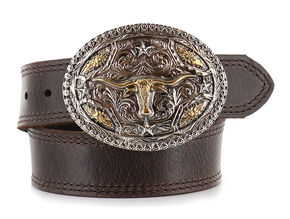 Cody James® Kid's Long Horn Buckle and Belt, Brown, hi-res