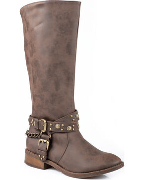 Roper Studded Riding Strap Cowgirl Boots - Round Toe, Brown, hi-res
