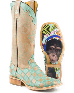 Tin Haul Women's No Evil with Chimp Sole Cowgirl Boots - Square Toe, Tan, hi-res