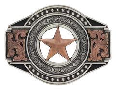 Two Tone Open Texas Ranger Star Attitude Buckle, , hi-res