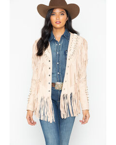 Liberty Wear Studded Fringed Leather Jacket, , hi-res