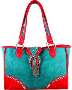 Montana West Turquoise Buckle Dual Side Concealed Handgun Handbag, , hi-res