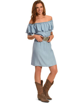 Ruby Rd. Women's Scoop Neck with Ruffle Denim Dress, Light/pastel Blue, hi-res
