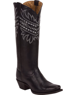 Tony Lama Black Baja 100% Vaquero Cowgirl Boots - Square Toe, Black, hi-res