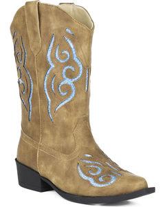 Roper Girls' Glitter Gracie Cowgirl Boots - Snip Toe, , hi-res
