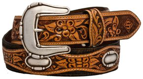Stetson Fancy Concho Tooled Leather Overlay Belt, Brown, hi-res