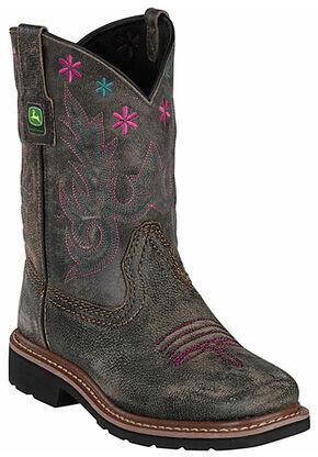 John Deere Girls' Johnny Popper Black Leather Western Boots - Square Toe, Black, hi-res