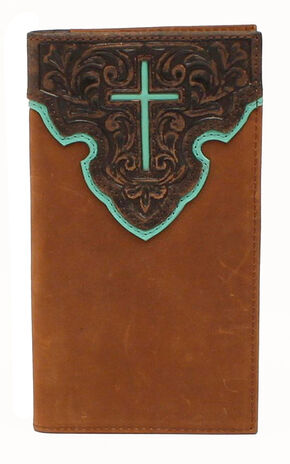 Nocona Contrast Cross Rodeo Wallet, Tan, hi-res