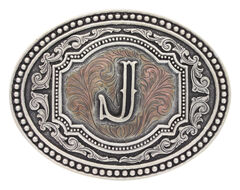 "Montana Silversmiths Men's Initial ""J"" Two-Tone Attitude Belt Buckle, , hi-res"