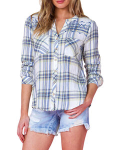 Miss Me Women's Green Embroidered Plaid Shirt , Green, hi-res
