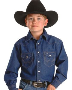 Wrangler Boys' Denim Western Shirt - 2-20, , hi-res