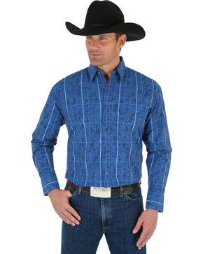 Wrangler George Strait Men's Blue Plaid Shirt, Blue, hi-res