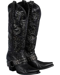 Lane Boots Studded Rocker Harness Cowgirl Boots - Snip Toe, , hi-res