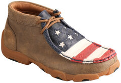 Twisted X Brown Leather American Flag Driving Mocs , , hi-res