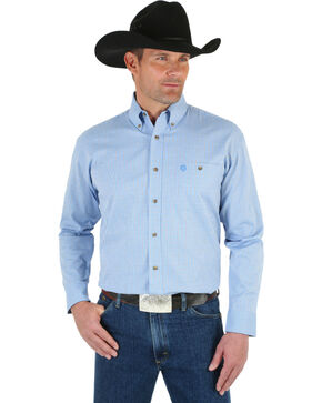 Wrangler George Strait Men's Grey Plaid Shirt, Blue, hi-res