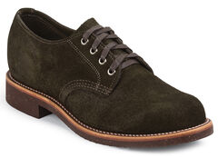 Chippewa Men's Chocolate Moss Whirlwind Service Suede Oxford Shoes, , hi-res
