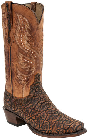 Lucchese Wes Elephant Exotic Western Boots - Square Toe , Cognac, hi-res