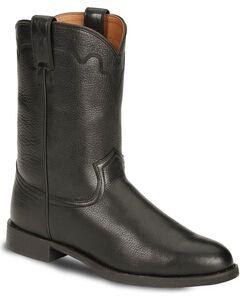 Justin Stampede Roper Cowboy Boots - Round Toe, Black, hi-res