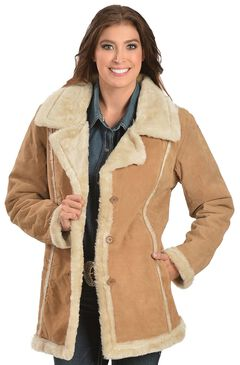 China Leather Women's Faux Fur-Lined Suede Coat, Tan, hi-res