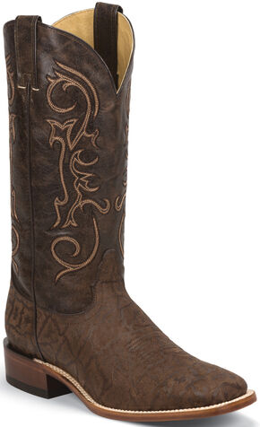 Nocona Chocolate Elephant Grain Cowboy Boots - Square Toe , Chocolate, hi-res
