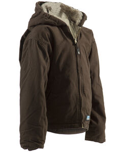 Berne Youth Boys' Washed Sherpa-Lined Hooded Jacket, , hi-res